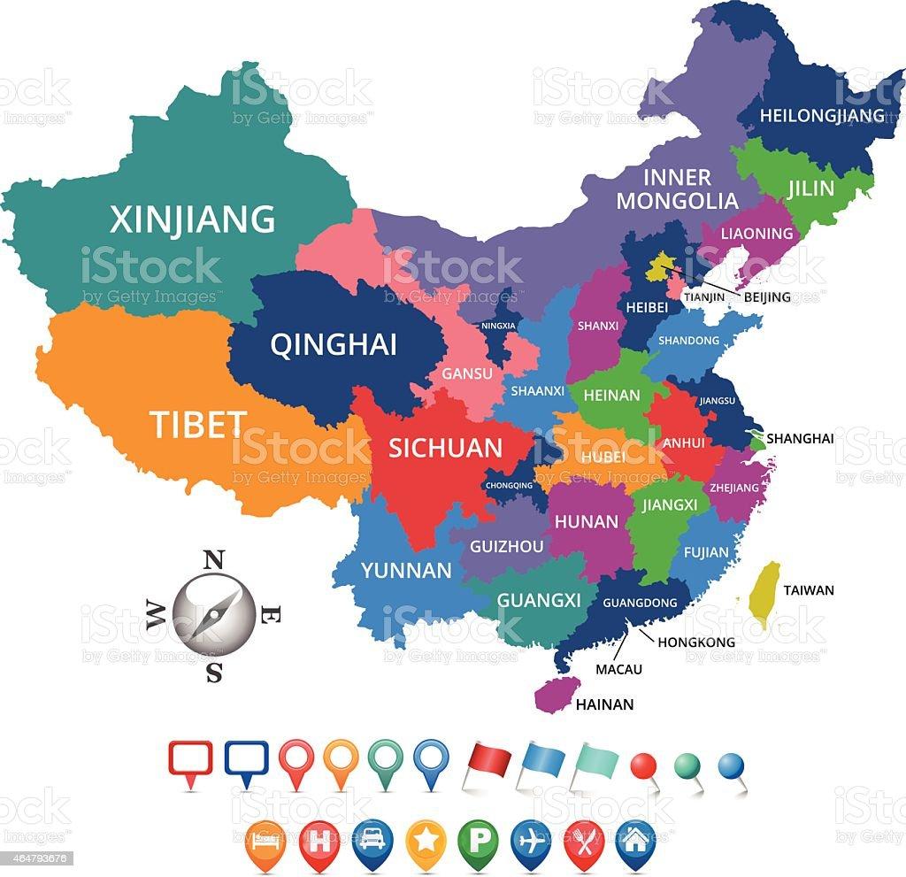 Fabuleux Carte Des Provinces De La Chine Stock Vecteur Libres de Droits  JW14