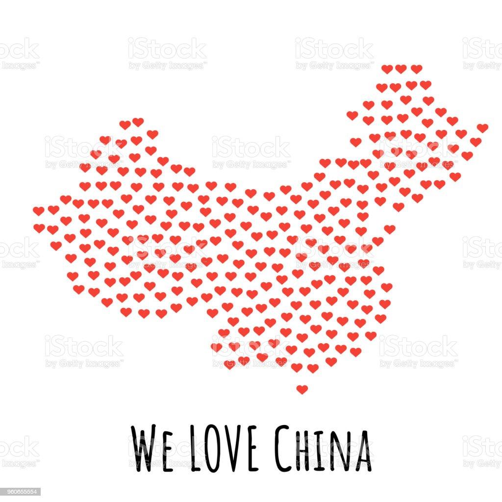 Ilustración De Mapa De China Con Los Corazones Rojos Símbolo Del