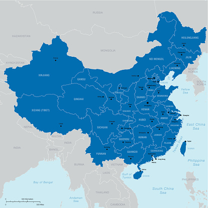 China map with regions, capital and cities