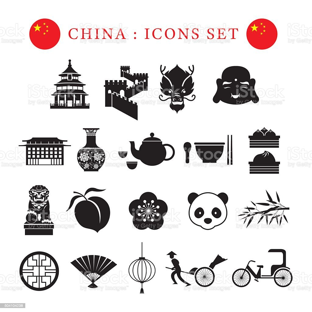 China Mono Icons Set vector art illustration