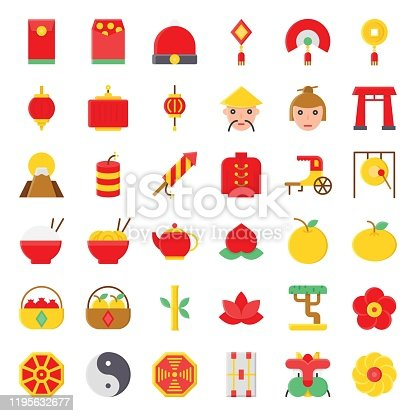 china, new years related, envelopes, rice bowls, dresses, noodles bowls, oranges, flowers, spring flowers, fruit baskets, man face, woman faces, and yin yang vectors, in flat designs,