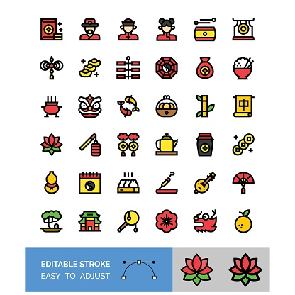china new year related filled icon set, editable stroke vector illustration