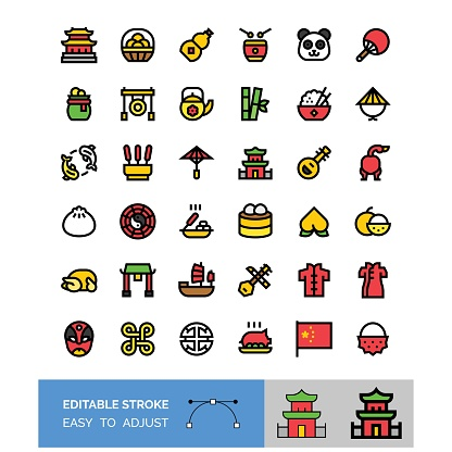 china new year related vector icon set, editable stroke