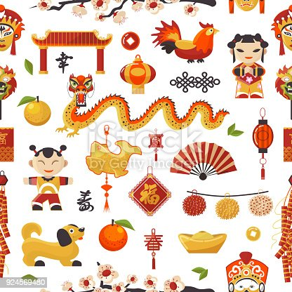 China New Year vector icons set decorative holiday. Chinese traditional symbols and objects dragon, dog, lighter and famous oriental culture chinese New Year celebration seamless pattern background.