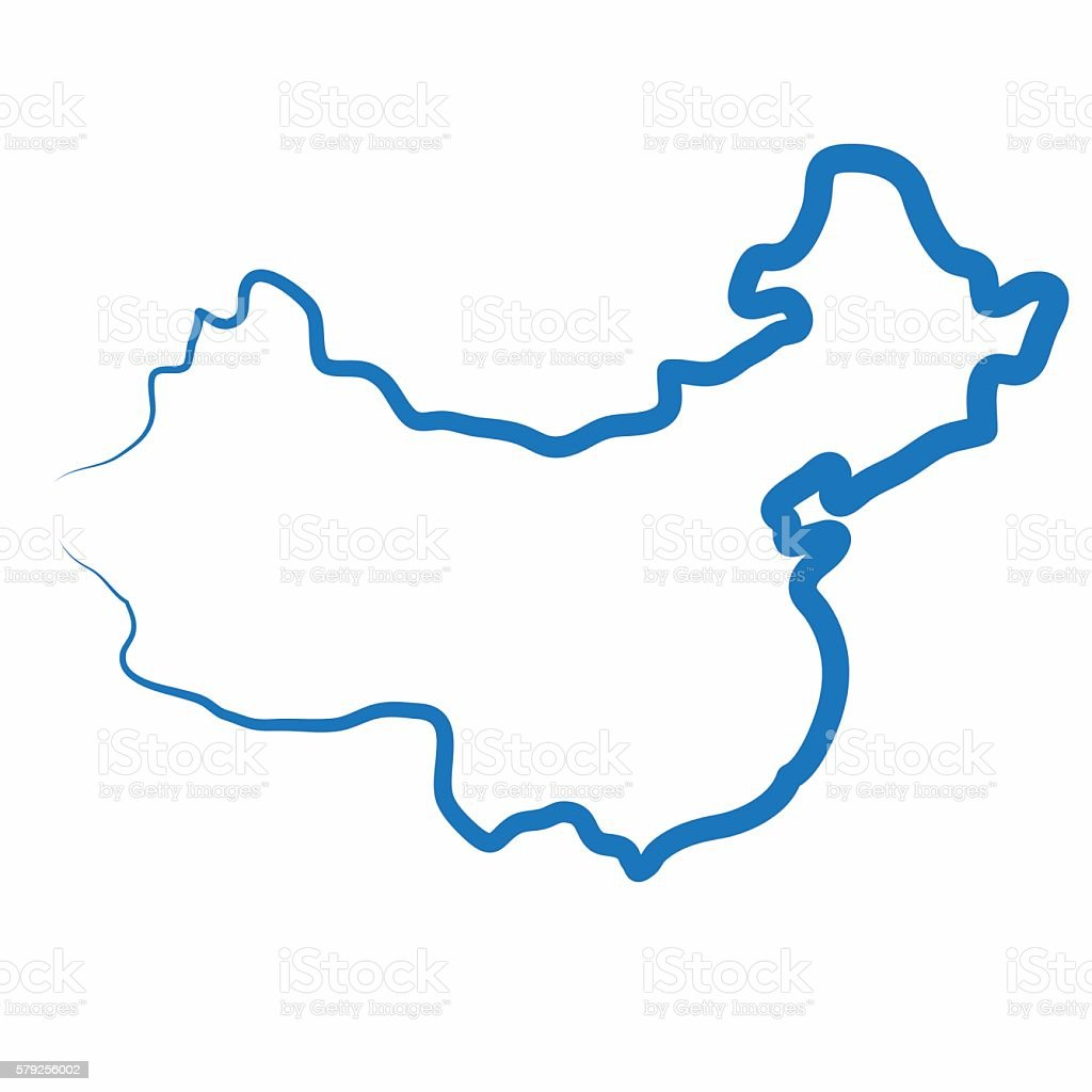 China Outline Map Made From A Single Line Stock Vector Art & More ...