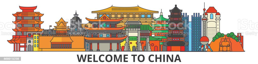 China outline skyline, chinese flat thin line icons, landmarks, illustrations. China cityscape, chinese vector travel city banner. Urban silhouette vector art illustration