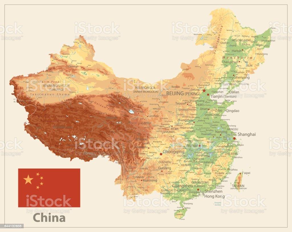 China Karte Physisch.Physische Karte China Isoliert Auf Retroweiße Farbe Stock Vektor Art