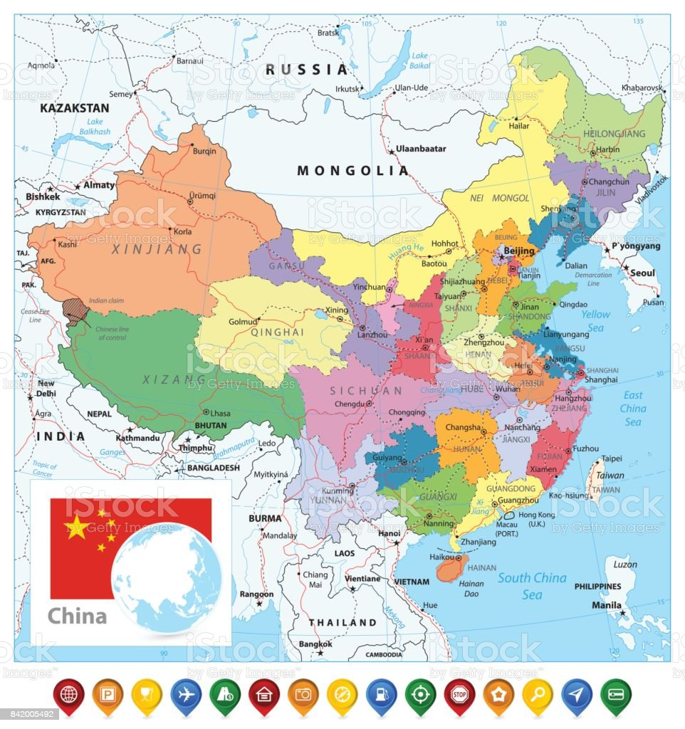 China Political Map And Map Pointers Stock Vector Art & More Images ...