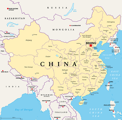 China, political map, provinces, and administrative divisions