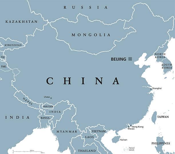 china political map - china map stock illustrations, clip art, cartoons, & icons