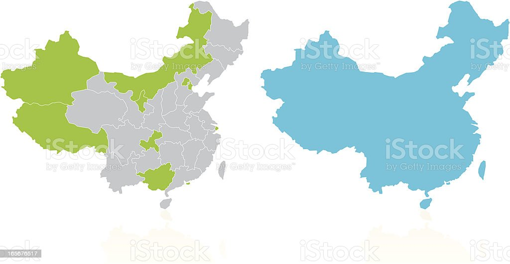 China Province and Country Map royalty-free stock vector art