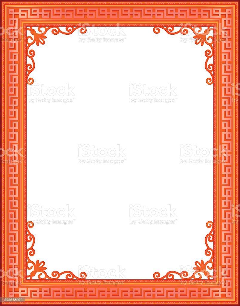 Ilustración de Rojo Y Oro China Marco De Fotos De Vector Con Flores ...