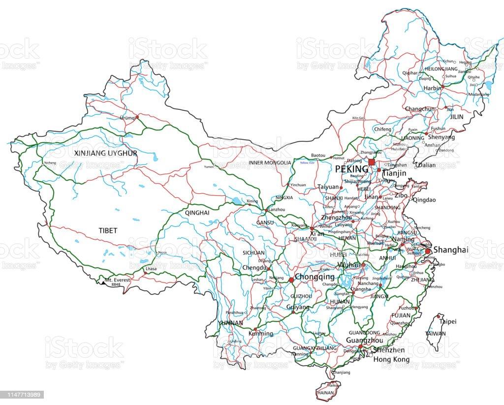 Carte Routiere Chine.Route De La Chine Et La Carte Routiere Illustration