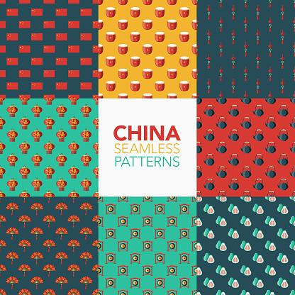 China Seamless Pattern Set