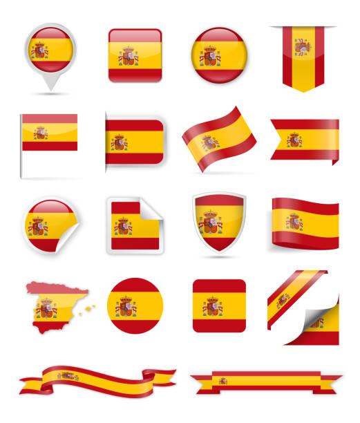 19 - china - set vertical - spanish flag stock illustrations, clip art, cartoons, & icons