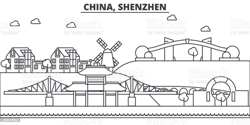 China, Shenzhen architecture line skyline illustration. Linear vector cityscape with famous landmarks, city sights, design icons. Landscape wtih editable strokes vector art illustration