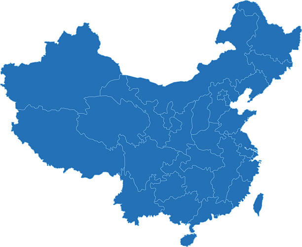 China simple blue map on white background China map on white background with markers. JPEG (5000 x 5000 pixels) and EPS10 file included. china stock illustrations