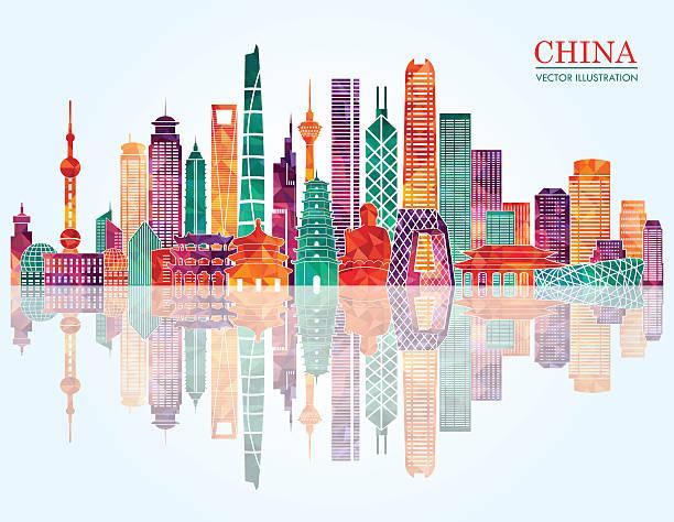 China skyline. Vector illustration China skyline. Vector illustration american pekin duck stock illustrations