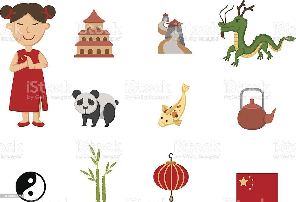illustration of china symbol vector set