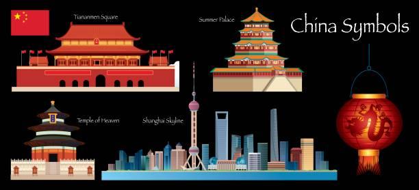 China Symbols vector art illustration