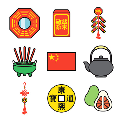 China Thin Line Icon Set