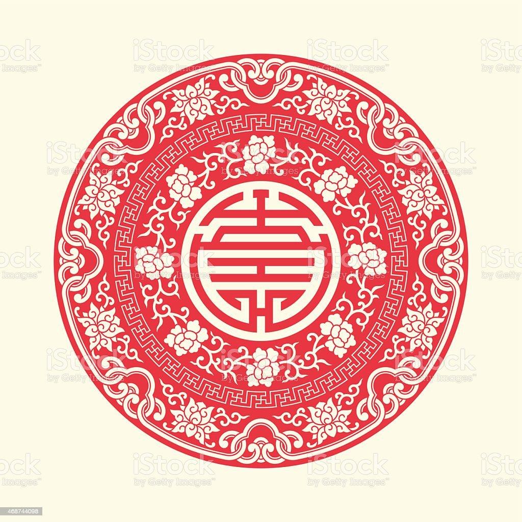 Chiński tradycyjny auspicious Symbole i koło ramki - Grafika wektorowa royalty-free (2015)