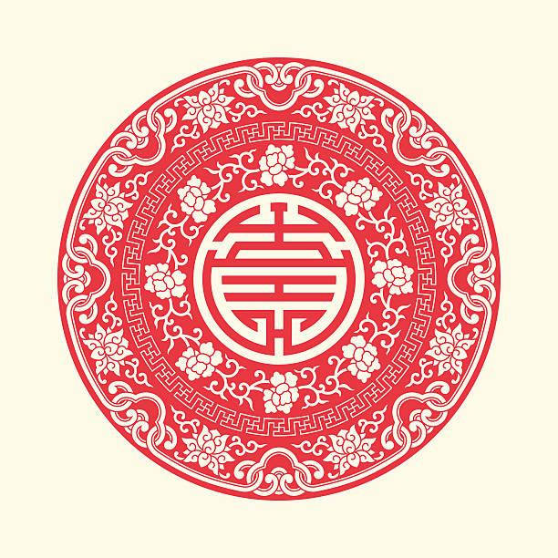 chiński tradycyjny auspicious symbole i koło ramki - new year stock illustrations