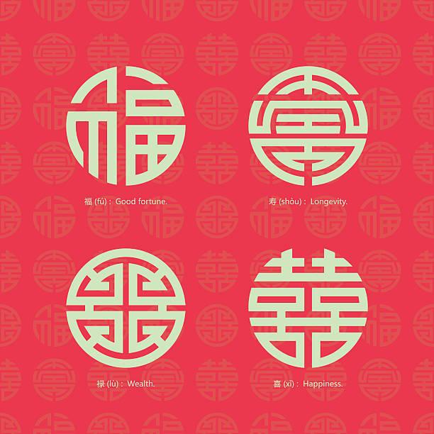 China traditional auspicious symbols and seamless background vector art illustration