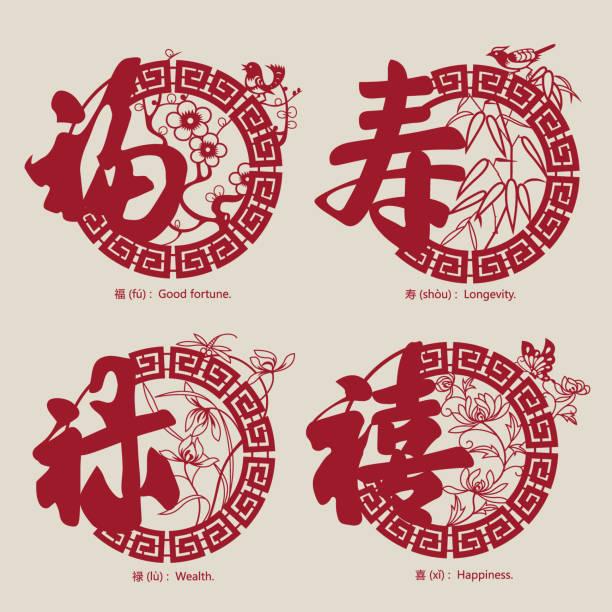 China tradicional símbolos auspiciosos-3 - ilustración de arte vectorial