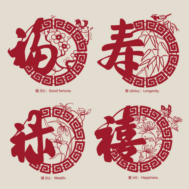 China traditional auspicious symbols-3 vector art illustration