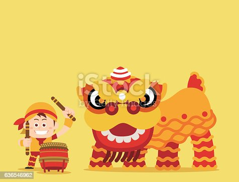 Vector illustration - China Traditional Lion dance