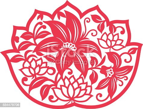 China traditional paper-cut art(Floral Pattern)