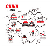 China travel. Chinese traditional architecture, building and culture. Flat design icons. vector illustration