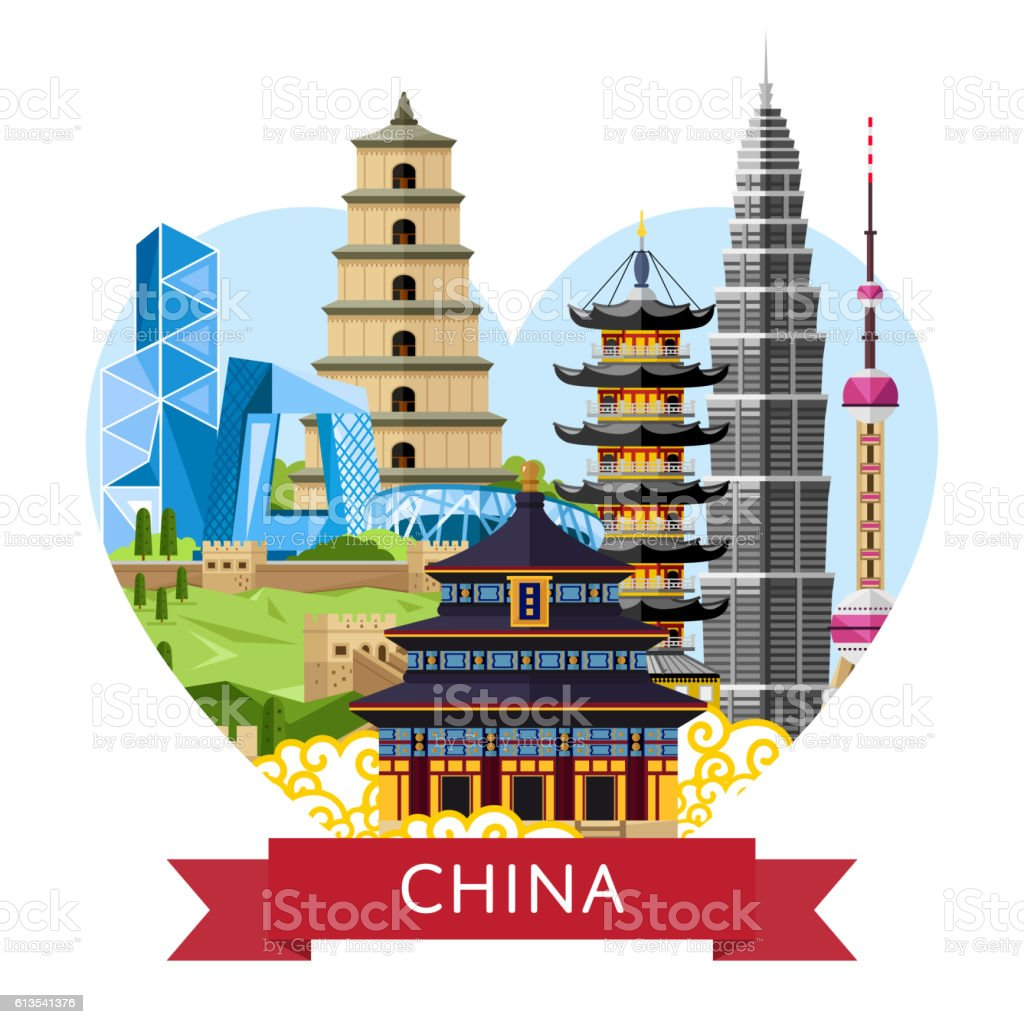 China travel concept with famous asian buildings stock for Asia famous buildings