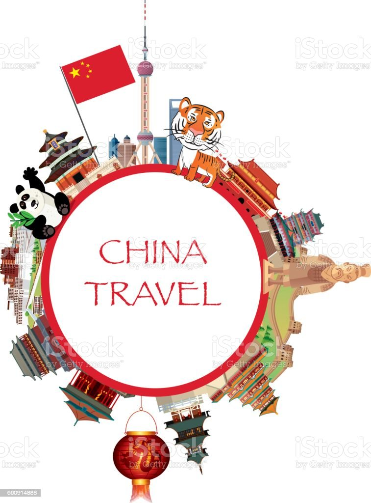China Travels vector art illustration