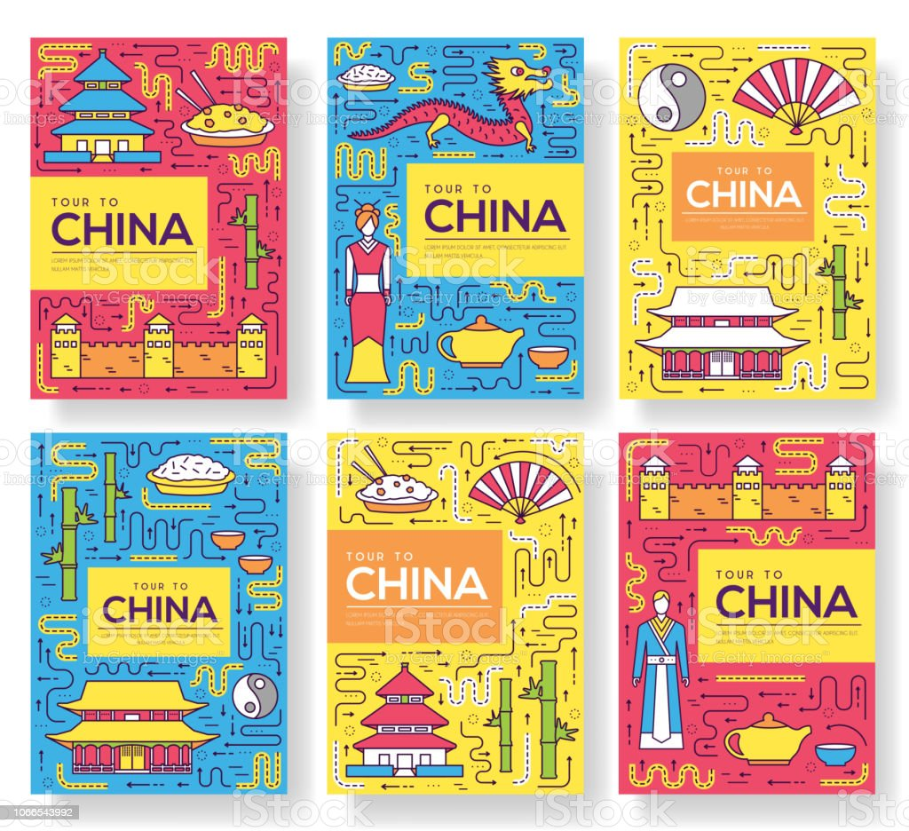 China Vector Brochure Cards Thin Line Set Country Travel