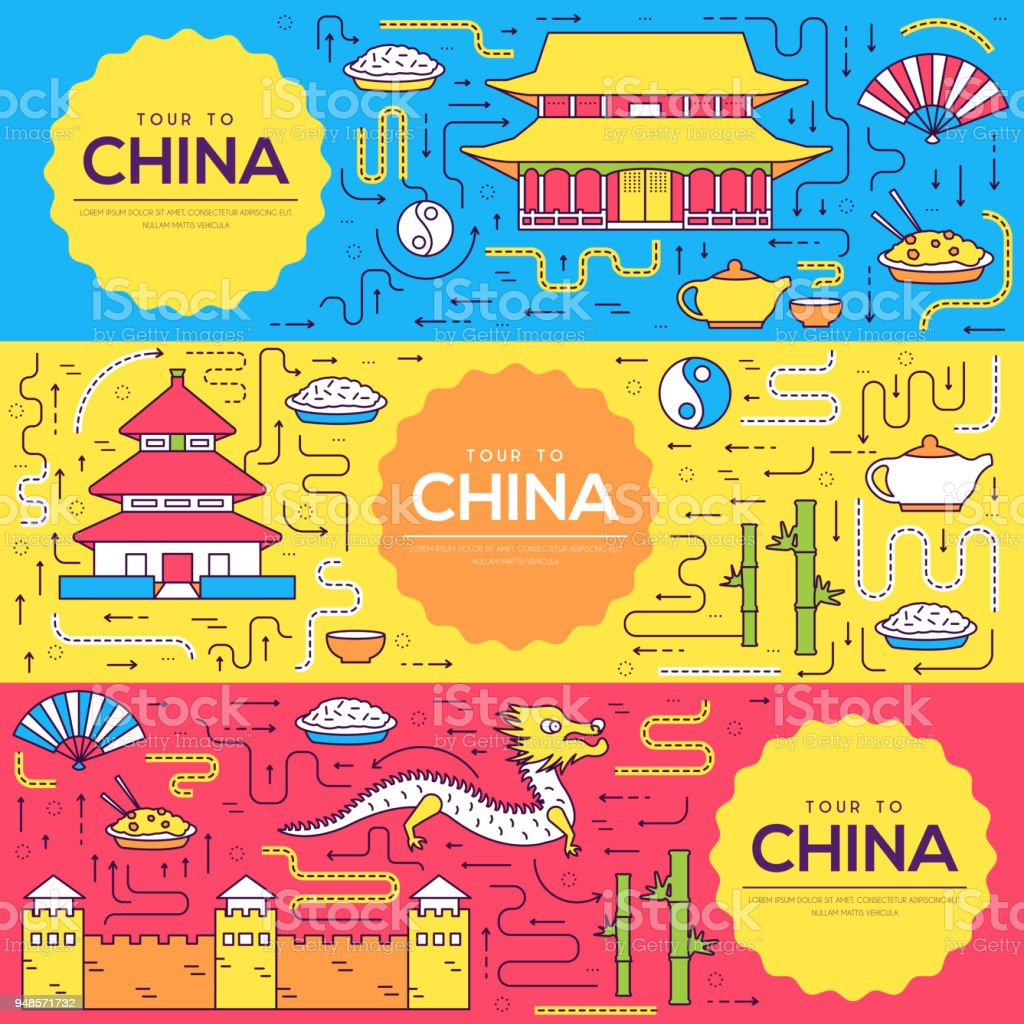 China Vector Brochure Cards Thin Line Set Country Travel Template Of ...