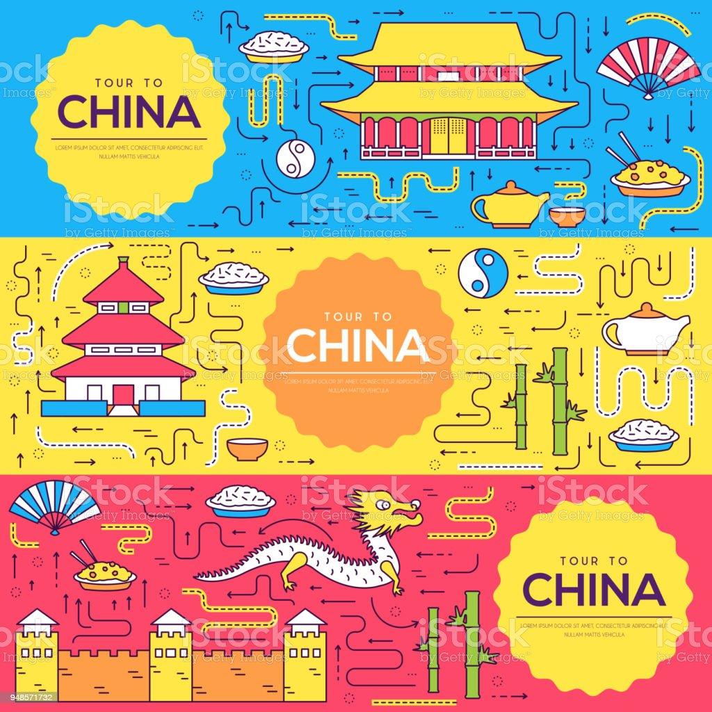 Ilustración de China Vector Brochure Tarjetas Delgada Línea Conjunto ...