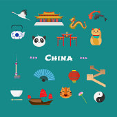 China vector illustration with Chinese famous landmarks, lantern, dragon, other objects. Visit China concept nonstandard design icons set