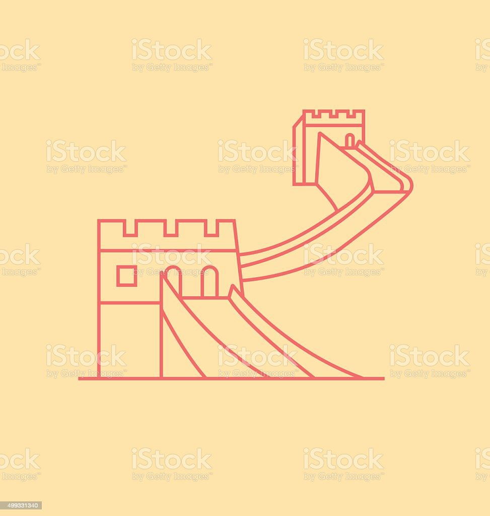 China Wall colored line Illustration vector art illustration