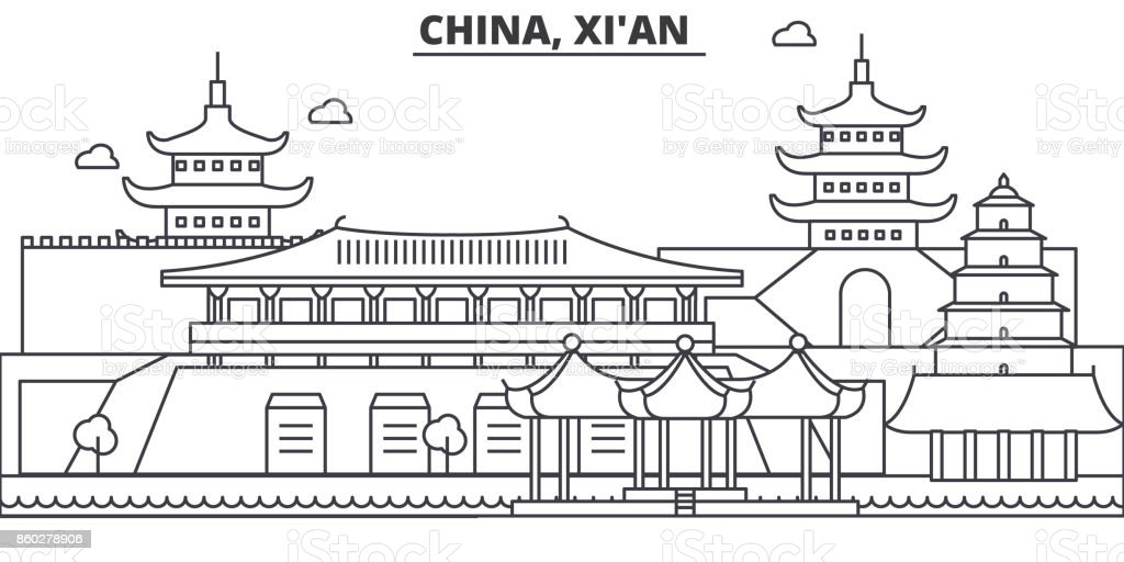 China, Xian architecture line skyline illustration. Linear vector cityscape with famous landmarks, city sights, design icons. Editable strokes vector art illustration