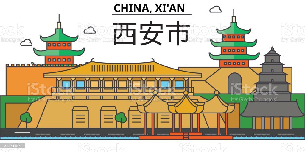 China, Xi'an. City skyline: architecture, buildings, streets, silhouette, landscape, panorama, landmarks. Editable strokes. Flat design line vector illustration concept. Isolated icons set vector art illustration
