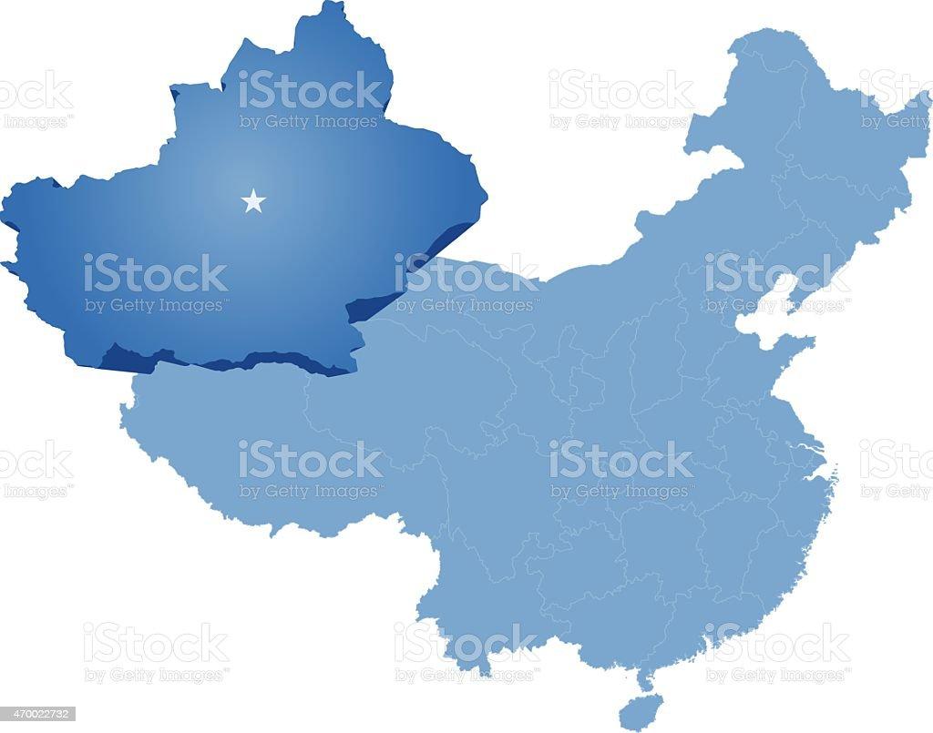 China - Xinjiang Uyghur Autonomous Region vector art illustration