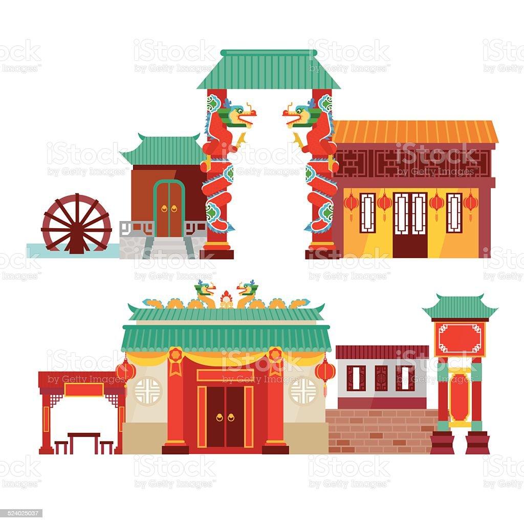 chinatown vector art illustration