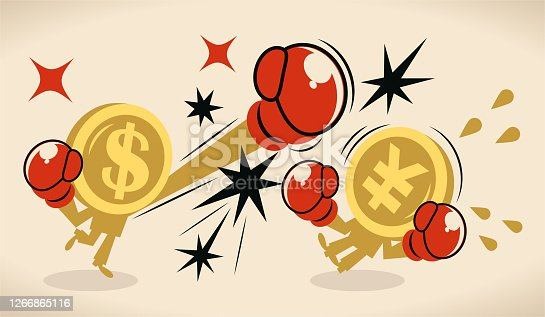 istock China–United States trade war; Anthropomorphic US dollar coin is beating up the chinese yuan sign currency 1266865116