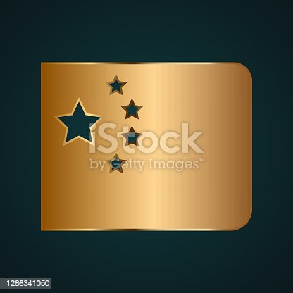 istock Chine flag icon vector logo. Gradient gold metal 1286341050