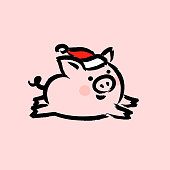 Chinese 2019 New Year greeting card with cute pig in Santa hat on pink background