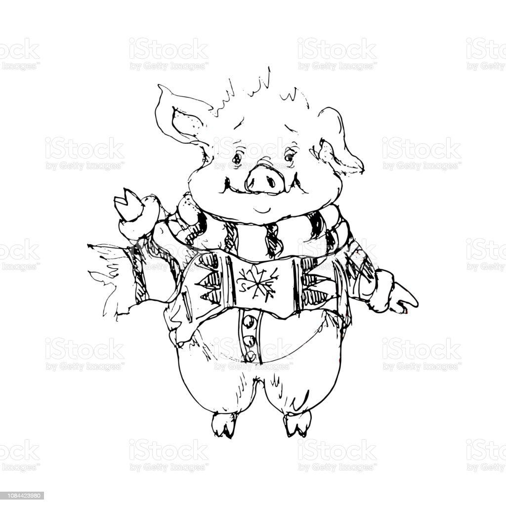 2019chinese New Year Symbole Santa Cochon Dessin Animé Chibi