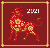 Chinese 2021 New Year greeting card or banner design with bull illustration. Oriental ox zodiac symbol with traditional pattern and frame.