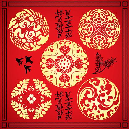 Chinese & Japanese ornamental art vector illustration set